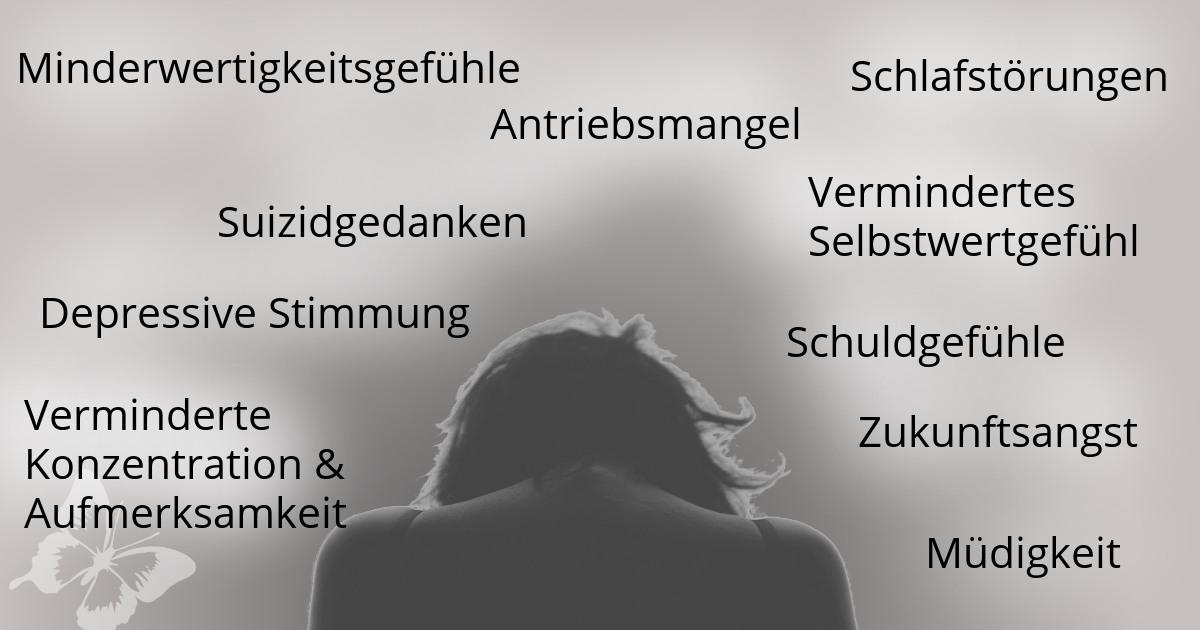 Frau mit Symptomen Depressionen