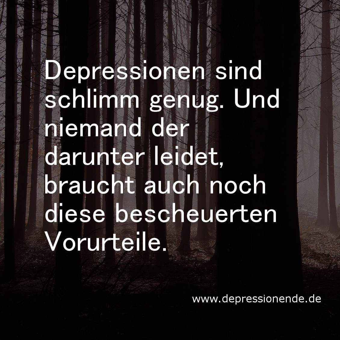 Depressionen sind schlimm genug. Und niemand der darunter leidet, braucht auch noch diese bescheuerten Vorurteile.